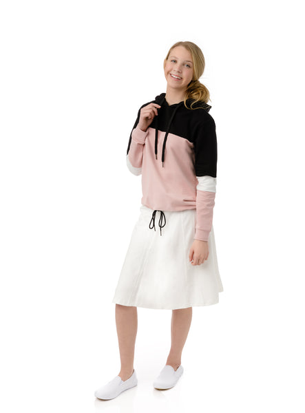 Girls Paneled Skirt in Ivory