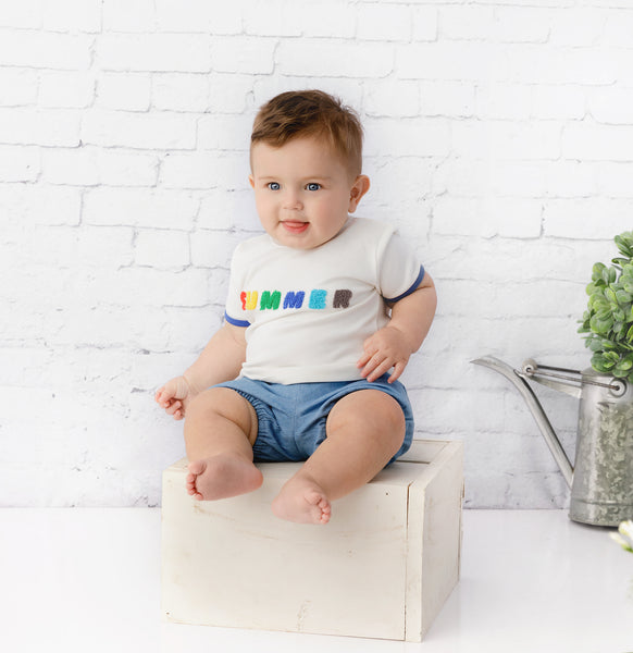 Baby Boy Bloomer in  Light Blue Denim