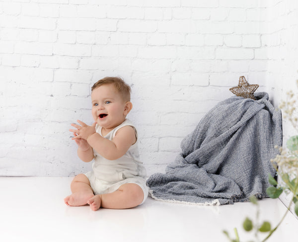 Baby Boys Grey Watercolor Romper