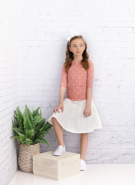 Girls White Denim Tiered Skirt