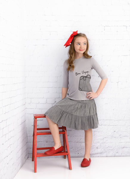 Girls Grey Denim Tiered Skirt