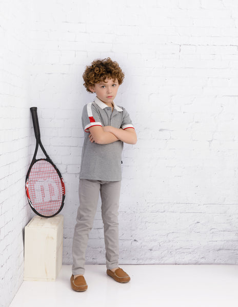 Boys Short Sleeve Grey Polo with White and Red Trim