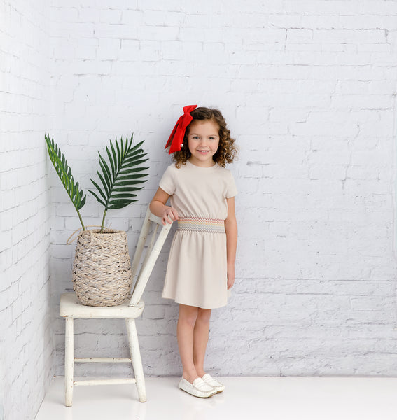 Girls' Tan Rainbow Dress