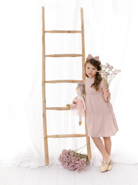 Girls Linen Dress in Blush