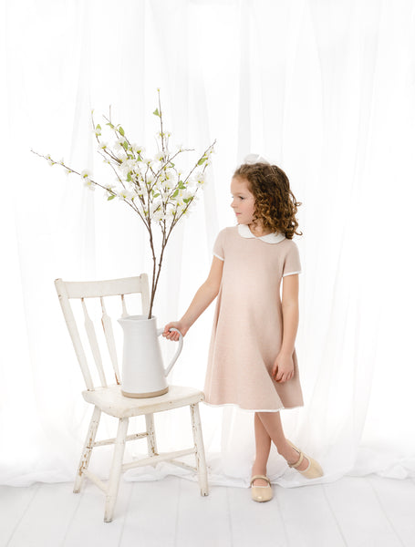 Girls Pink Champagne Knit Dress