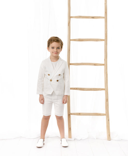 Boys Double Breasted Linen Ivory Blazer