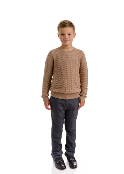 Boys Chevron Knit Taupe Sweater