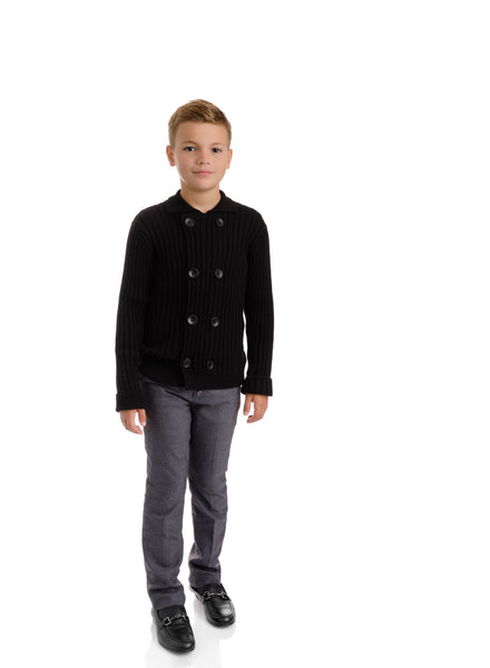 Boys Black Double Breasted Knit Cardigan