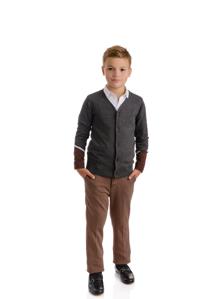 Boys Grey & Brown Colorblock Cardigan