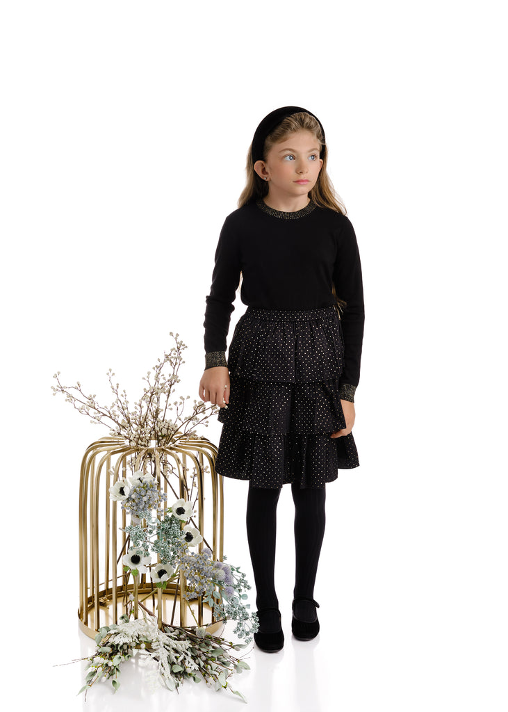 Girls 3-Tiered Gold Dotted Black Skirt