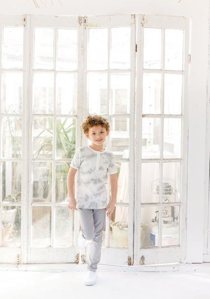 Boys Grey Watercolor  Top
