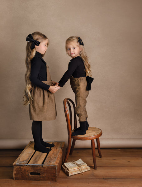 Girls Brown Tweed Pinafore Dress with Velvet Accent