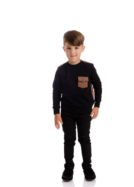Boys Black Sweatshirt with Brown Denim Back & Accents