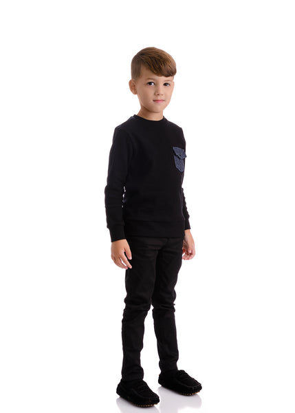Boys Black Sweatshirt with Denim Blue Back & Accents