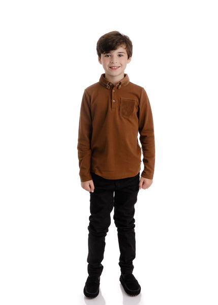 Boys Brown Polo with Corduroy Accent