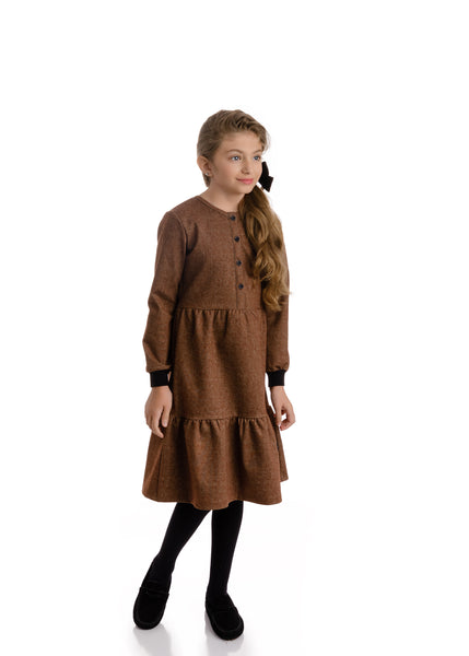 Girls Brown Denim Dress