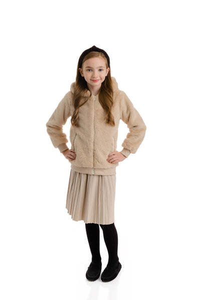 Girls Fur Jacket in Beige