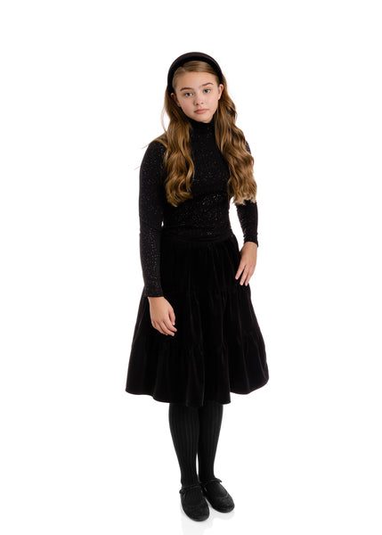 Teens Velvet Tiered Skirt