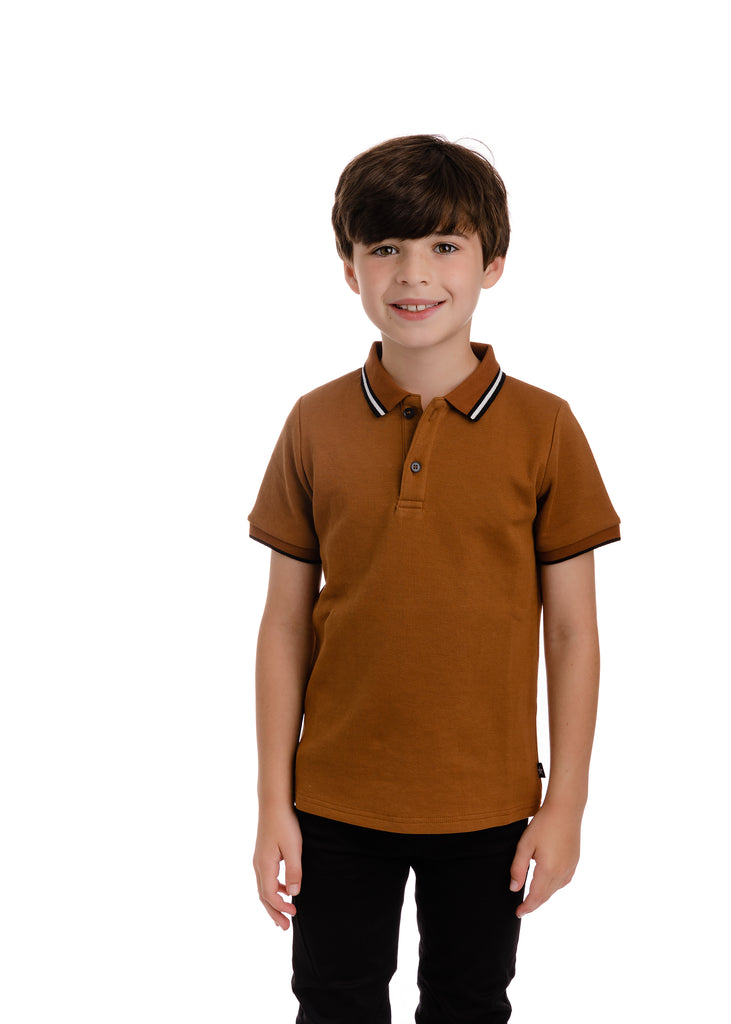 Boys Short Sleeve Pumpkin Brown Polo