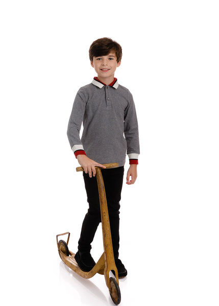 Boys Grey Long Sleeve Polo