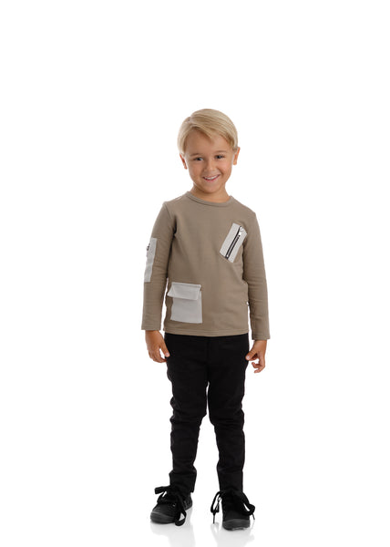 Boys Zipper Detail Long Sleeve