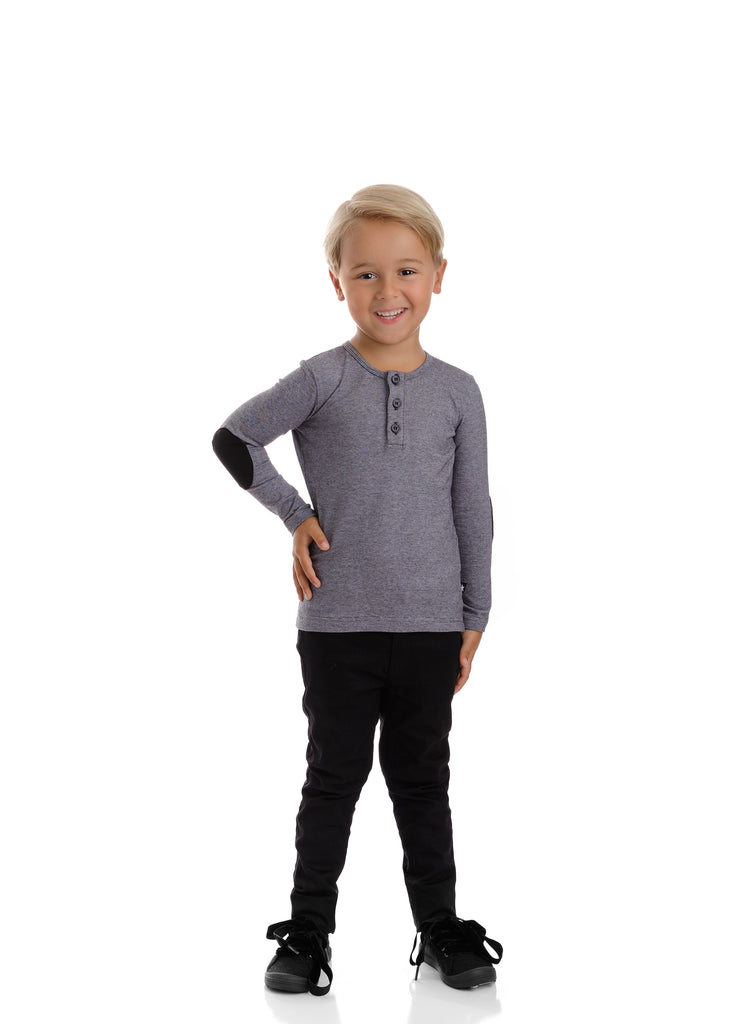 Boys Heather Black Henley with Elbow Patches
