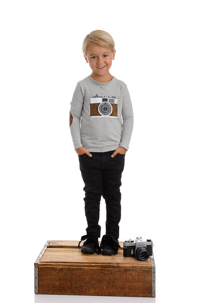 Boys Camera Tshirt with Brown Corduroy Detail