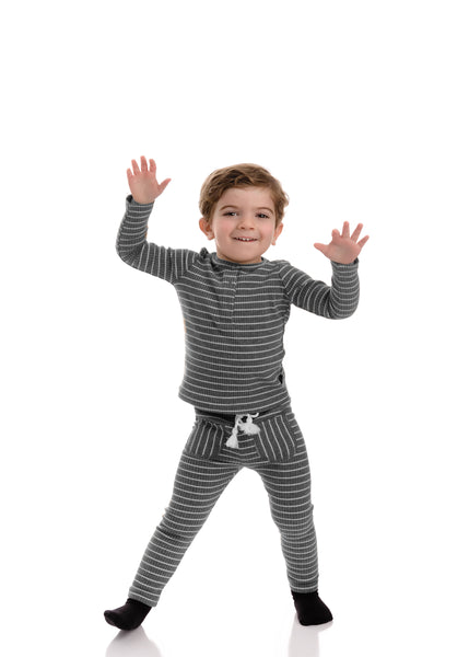 Baby Grey Striped Henley Set
