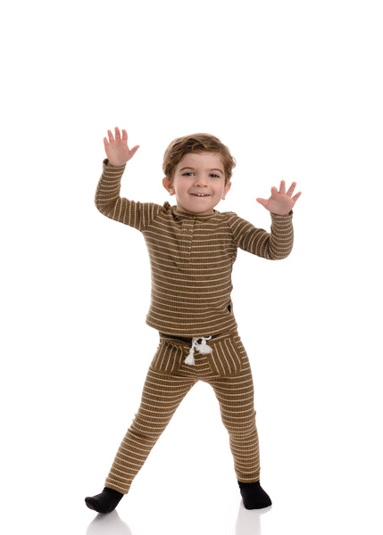 Baby Mocha Striped Henley Set