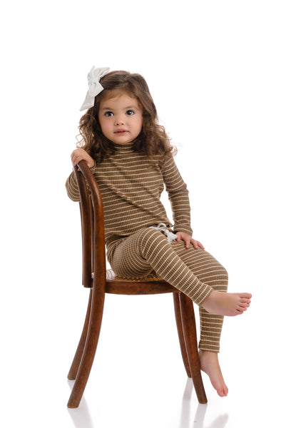 Baby Mocha Ribbed Stripe Set