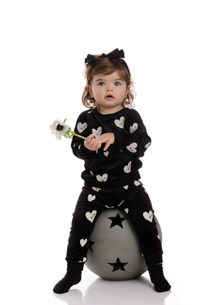 Baby Velour Heart Sweatshirt Set