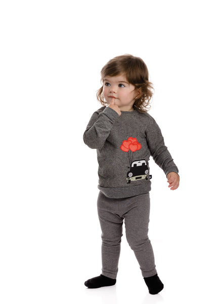 Baby Dark Heather Grey Balloon Car Sweatshirt