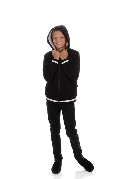 Black Zip-up Sweatshirt with Sherpa Lining