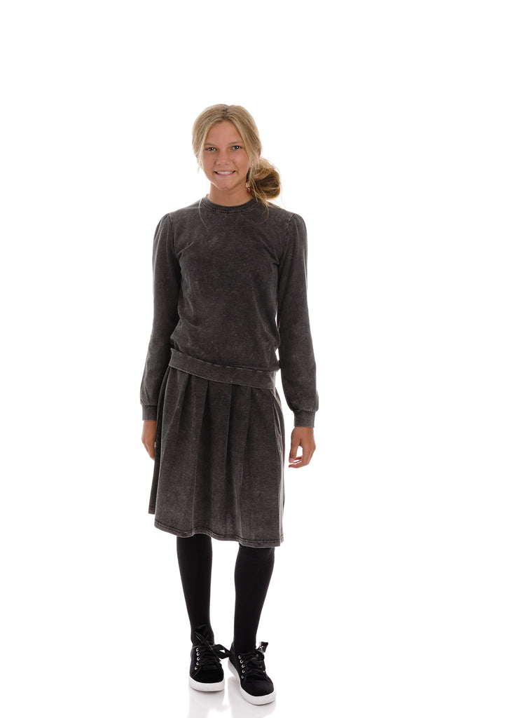 Teens Marbled Grey Jersey Knit Pleated Skirt