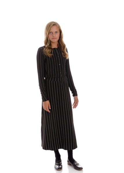 Teens Black Gold Midi Skirt with Metallic Stripe