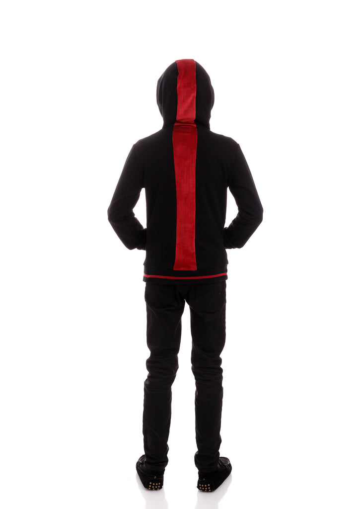 Black Zip-Up Sweatshirt with Red Velour Accents