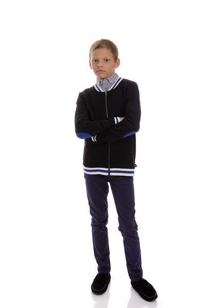 Boys Bomber Jacket with Blue Accents