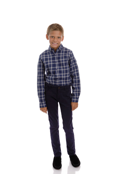 Boys Navy and Grey Plaid Shirt