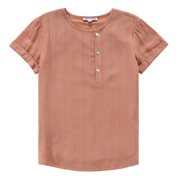 Boys Caramel Shirt with Metallic Lurex