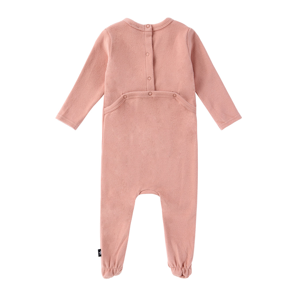 Baby Bow Footie in Blush