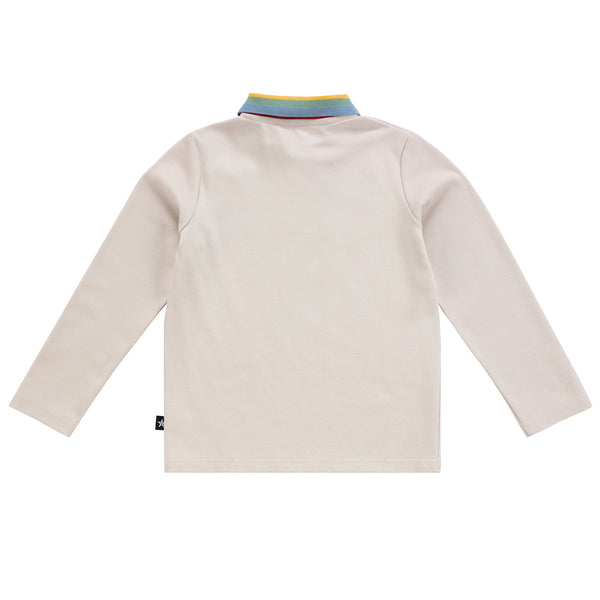 Boys Long Sleeve Tan Rainbow Polo