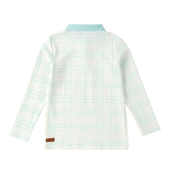 Boys Sketch Plaid Long Sleeve Polo in Mint
