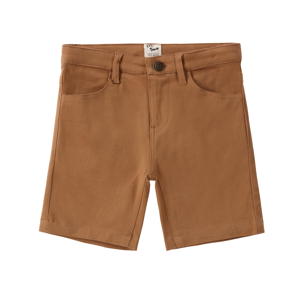 Boys Cognac Cotton Shorts