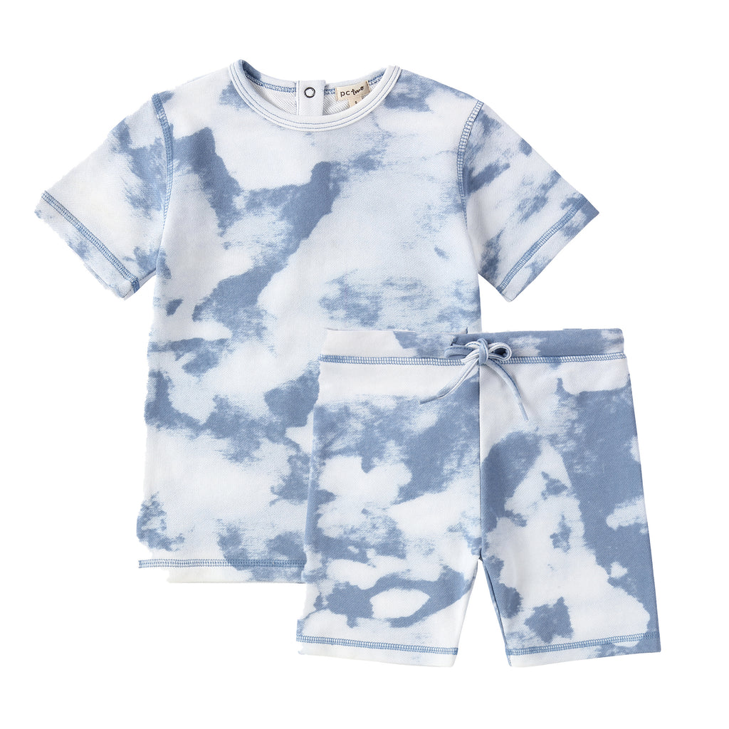 Tie- Dye Tshirt Set in Wave