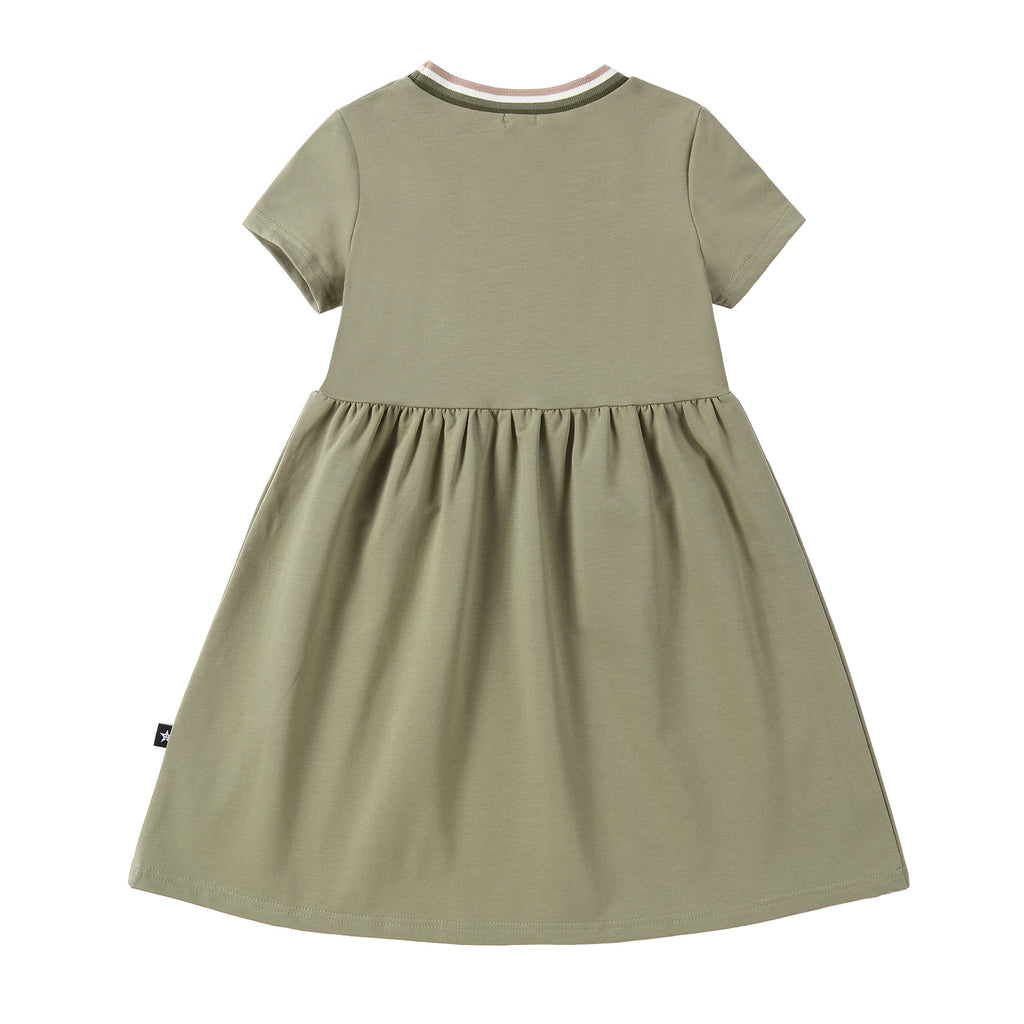 Moss Green Dress with Stripe Ribbing Accents