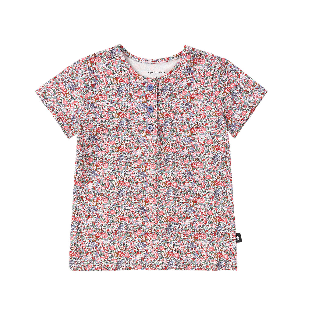 Pink Floral Print Henley Tshirt