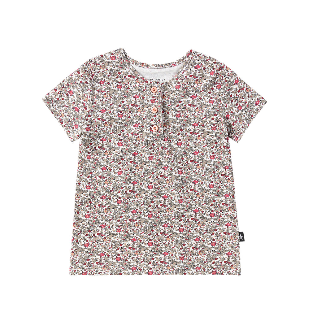 Taupe Floral Print Henley Tshirt