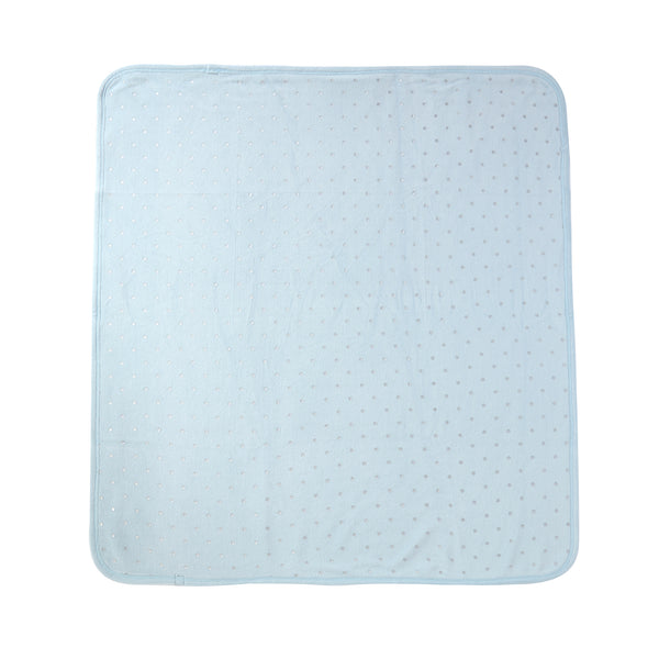 Baby Velour Blanket in Blue Polka Dot