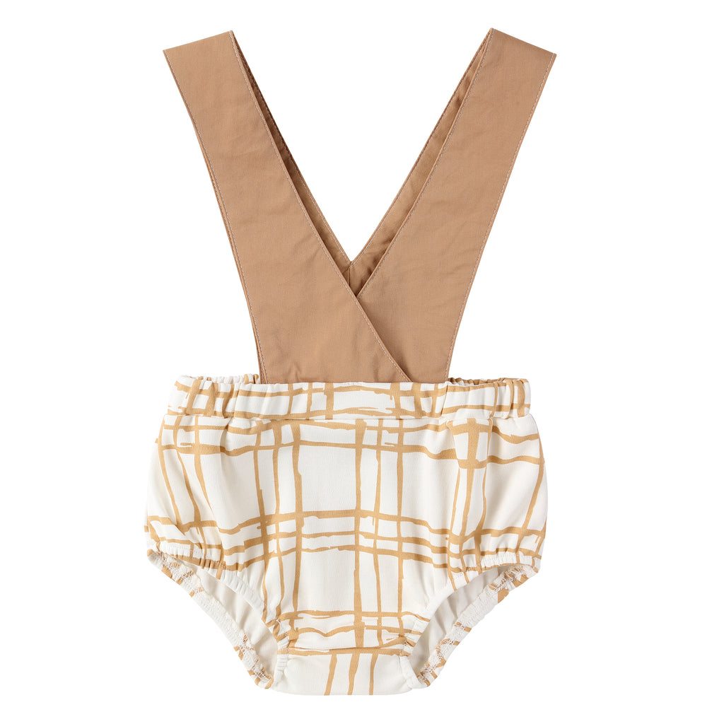 Sketch Plaid Suspender Bloomer in Latte