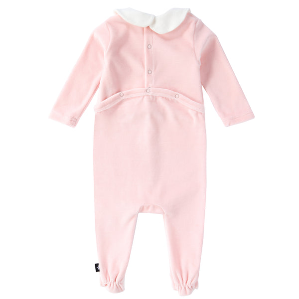 Baby Velour Button Down Onesie in Pink